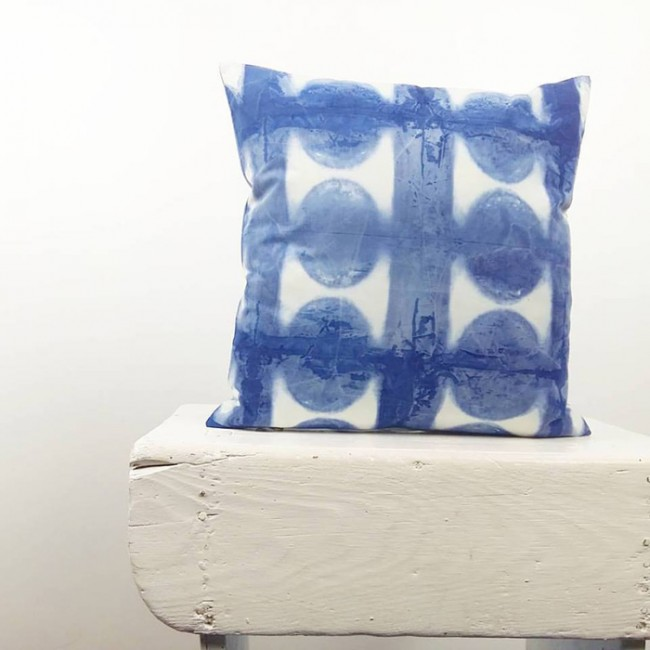 Square Shibori Cushion Itajime Sea Diabolo Inspiration