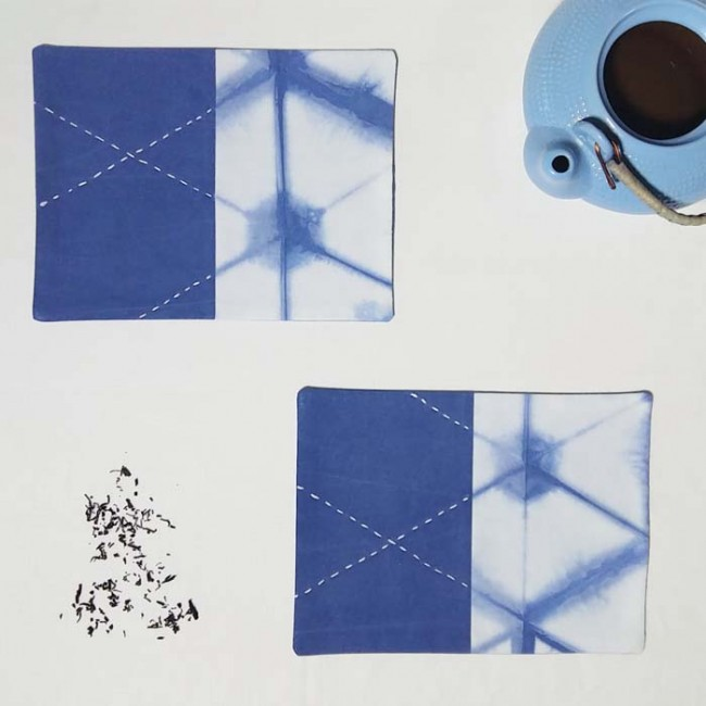Tea Timer Mat Thin Mimic Style Itajime Hexagonal Shibori